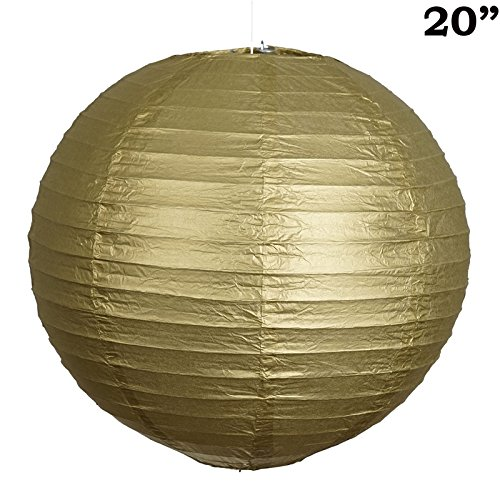 BalsaCircle 12 pcs Gold 20-Inch Tall Paper Shades Lanterns - Lamp Wedding Event Birthday Party Room Home Decorations Supplies