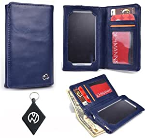 Navy Blue Wallet Flip Case Phone Cover | Unisex Men Woman | fits Oppo R811 Real + NuVur Key Chain (SMENBIB1)