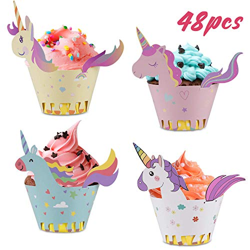 My Little Pony Cupcake Holders (Unicorn Cupcake Wrappers + Toppers, Cute Cake Decorations for Girl Birthday Party Supplies, Baby Shower 4 Styles Set of 48- By)