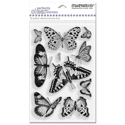 STAMPENDOUS Perfectly Clear Stamps, Butterflies (Garden Stamp Clear Set)