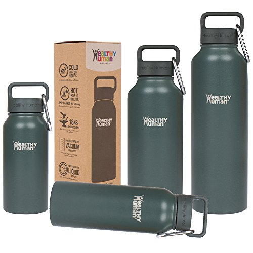 Healthy Human 40 oz Water Bottle - Cold 24 Hrs, Hot 12 Hrs. 4 Sizes & 12 Colors. Double Walled Vacuum Insulated Stainless Steel Thermos Flask with Carabiner & Hydro Guide. Color: Graphite