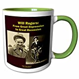 3dRose Sandy Mertens Writers World - Will Rogers From Great Depression to Great Recession - 11oz Two-Tone Green Mug (mug_26362_7)