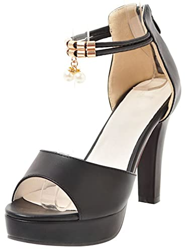 498fa2235e7e Mofri Women e Fashion Peep Toe Ankle Strap Sandals - Solid Color with  Pendant -