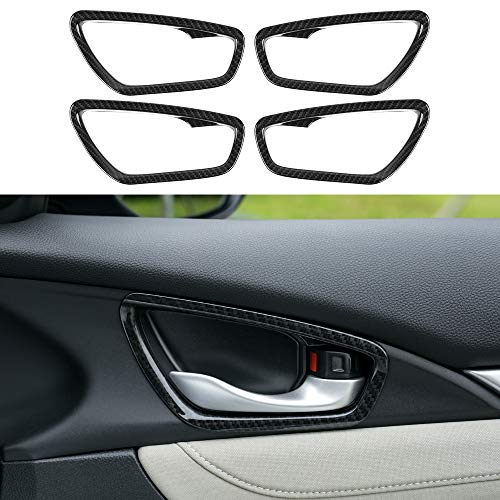 (Thenice for 10th gen Civic ABS Carbon Fiber Style Door Handle Trims Interior Decoration Super Cool Special Design Rings for Honda Civic 2016 2017 2018 2019 )