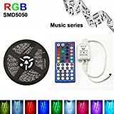12v 5 Metre RGB SMD5050 300 Leds Colour Changing LED Strip Light Kit With 40Keys ,Music LED Strip Light Sync Strobe Light Strip (MLED004)