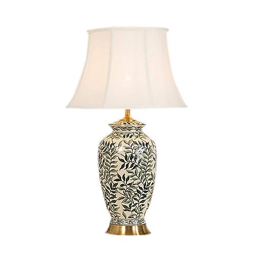 SHPEHP Pantalla de Tela Lámpara de Mesa de cerámica Retro China ...