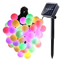 LUCKLED Globe Solar Powered String Lights, 21ft 50 LED Ball String Lights, Decorative Lighting for Indoor/Outdoor, Home, Garden, Patio, Lawn, Party and Holiday Decorations(Multi-Color)
