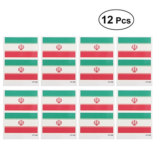 12 Pcs Country Flag Tattoo Stickers Fashion Sports Body Art Tattoo Decals for 2018 World Cup (Iran) free shipping