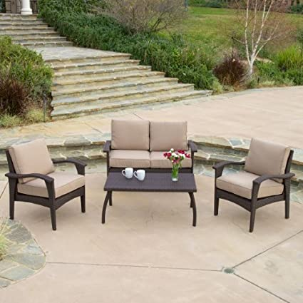 Astounding Voyage Outdoor Brown Wicker Sofa Set Caraccident5 Cool Chair Designs And Ideas Caraccident5Info