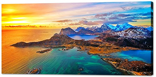 Island Bedroom - Wall Art Decor Canvas Print Picture Painting for Living Room Large Sunset Seascape Nature Wildlife Volcano Island Home Bedroom Decoration Modern Framed Artwork 20x40in