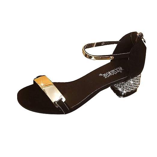 953b84e24e6aa Amazon.com: Hunzed Women【Low Heel Sandals】 Women's Open-Toe Shoes ...