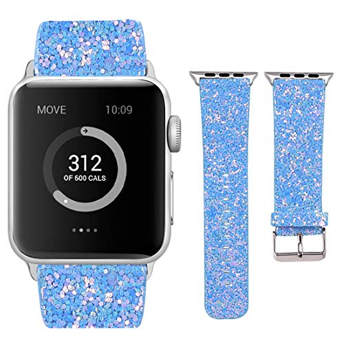 (Moonooda Watch Band Compatible with Apple Watch 44mm 42mm, Glitter Replacement Wristbands with Sequins Applicable for iWatch Series 4 3 2 1, Sky Blue)