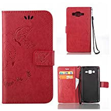 CUSKING Galaxy Core Prime Case, Wallet Leather Flip Case Silicone Case Embossed Butterfly Pattern Design Lifeproof Cover Case with Magetic Closure and Card Holder for Samsung Galaxy Core Prime - Red