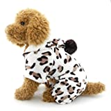 SELMAI Leopard Dog Pajamas Puppy Soft Velvet Hoodie Jumpsuit JPS for Small Pet Doggie Cat Winter Flannel Coat Tracksuit Sweater Yorkie Chihuahua Clothes Apparel Outfit S