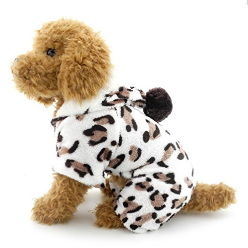 (SELMAI Leopard Dog Pajamas Puppy Soft Velvet Hoodie Jumpsuit JPS for Small Pet Doggie Cat Winter Flannel Coat Tracksuit Sweater Yorkie Chihuahua Clothes Apparel Outfit XXL)