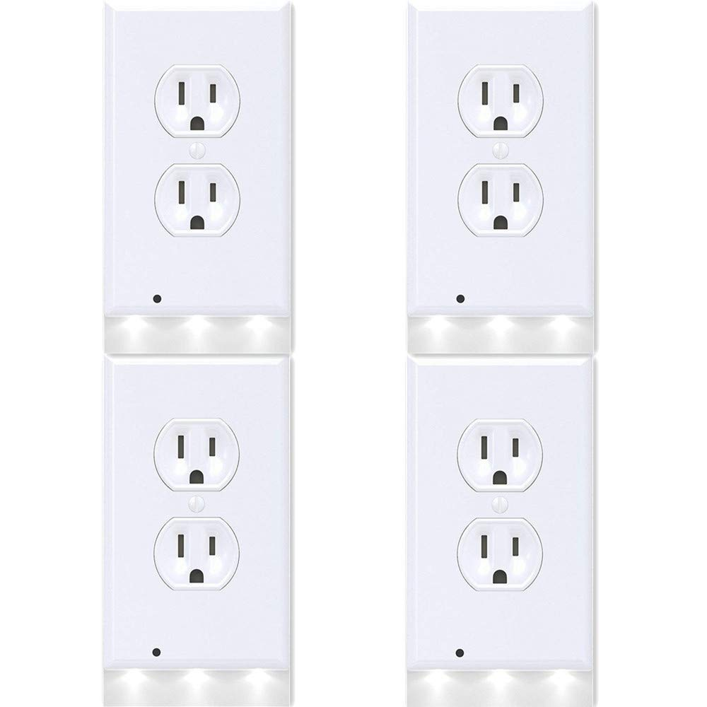 4Pack Guidelight Outlet Wall Plate With LED Night Lights, Outlet Cover With No Battery and Wires Easy Installation In Seconds For Home Kitchen Bedroom Hallway Stairway Garage Utility Room