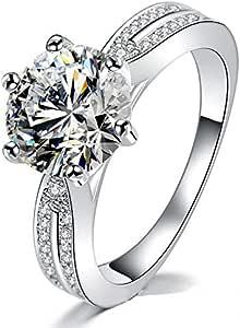 خاتم زفاف وخاتم خطوبة من الزركونيوم المطلي بالذهب الفضي عيار 18 قيراط للنساء مع خاتم ضبط الحجم