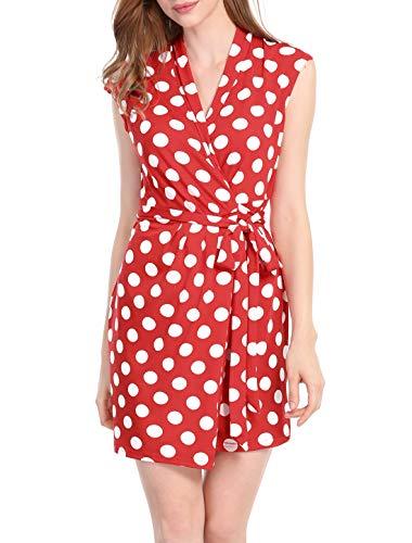 Allegra K Women's Dots Sleeveless Tie Waist Above Knee Wrap Dress M Red White ()
