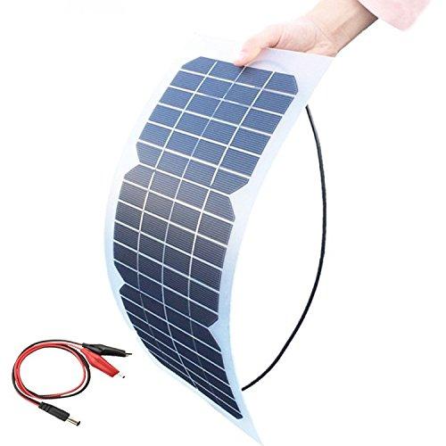 XINPUGUANG 18V 10W Solar Cell Kit Transparent Semi-Flexible Monocrystalline Solar Panel DIY Module Outdoor Connector DC for 12V Charger