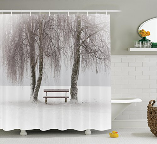 Ambesonne Farm House Decor Shower Curtain Set, Bench in The Snow Between Trees Winter Theme Picture Snowflakes Christmas Season Art, Bathroom Accessories, 75 Inches Long, White Taupe ()
