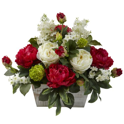 nearly natural 1320 mixed floral arrangement with white wash planter redwhite