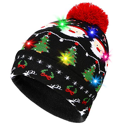 PUMICE Light Up Beanie Novelty Colorful Christmas Hat with LED Outdoor Indoor