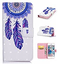 3D Phone Case for iPhone SE,iPhone 5S 5 Case with Fold Stand Feature,Gostyle Premium PU Leather Wallet Colorful Painted Pattern Magnetic Flip Cover with Card Slots.