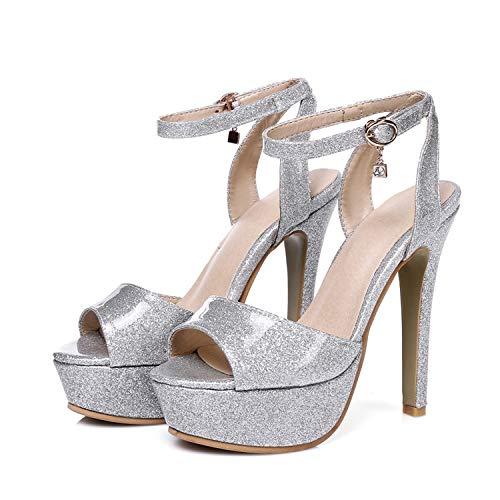 Fanatical-Night 2018 Summer Fashion Women Sandals Sexy High Heel Sandal,Silver,5.5 -