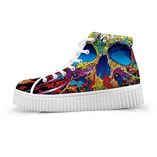 HUGS IDEA Graffiti Crossbones Print Platform Sneaker Hip Hop Fashion High Top Shoes for Wommen US7 by HUGS IDEA