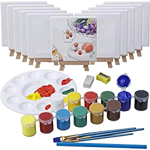 MEEDEN 43-Piece Acrylic Painting Set, 12Mini Beech Wood Easels and 12Stretched Canvas, 12×16ML Acrylic Paint Set, 3Paintbrushes and All The Additional Supplies, Perfect Gift for Kids and Beginners