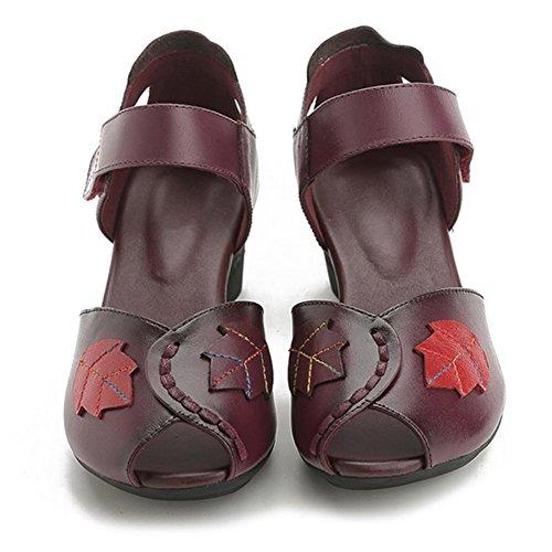 MZG Talones de las mujeres de las sandalias de las mujeres de cuero de la boca de los pescados con los zapatos retros del viento nacional 1