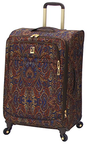 London Fog Soho 25 Inch Expandable Spinner, Brown Paisley, One Size