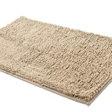 ITSOFT Non-Slip Shaggy Chenille Soft Microfibers Bathroom Rug with Water Absorbent, Machine Washable, 21 x 34 Inch Beige