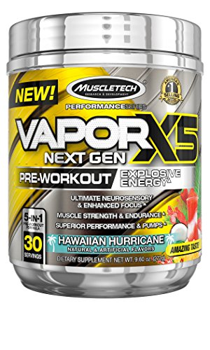MuscleTech Vapor X5 Next Gen Pre Workout Powder, Explosive Energy Supplement, Hawaiian Hurricane, 30 Servings (9.6oz)