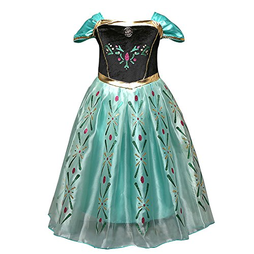 Anbelarui Girls New Princess Party Cosplay Costume Long Dress up 3-9 Years (3-4 Years, Green Dress)