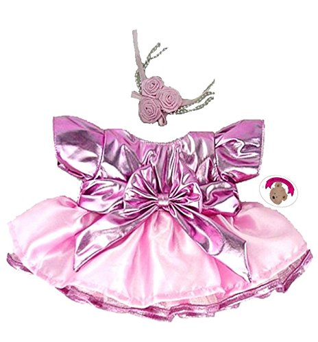 Build Your Bears Wardrobe 15-Inch Clothes Fit Build Bear Metalic Dress and Flowers (