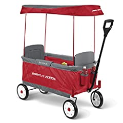 Radio Flyer new ultimate EZ fold wagon is designed as a full size wagon for 2 kids that folds compactly. With an easy one hand fold, you can take or store the wagon anywhere. Two kids ride comfortably with 2 seats, 4 cup holders, seatbelts fo...