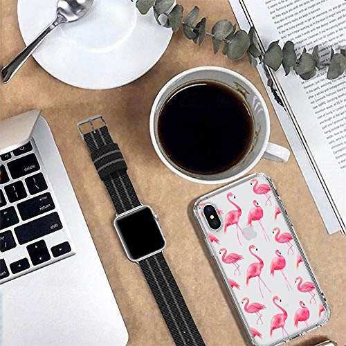 MOSNOVO Case for iPhone Xs/iPhone X, Cute Flamingo Tropical Clear Design Printed Transparent Plastic Hard Back Case with TPU Bumper Protective Back Phone Case Cover for Apple iPhone X/iPhone Xs