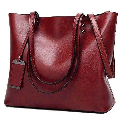 FiveloveTwo Women All-match Top-handle Shoulder Bags Satchel Crossbody Handbags Tote Purse burgundy]()