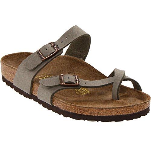 Birkenstock Women's Mayari Adjustable Toe Loop Cork Footbed Sandal Stone 38 M - Birkenstock Arizona Sandals Nubuck