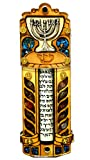 Jewish MEZUZAH CASE With SCROLL Menorah Wood & Gemstones Israel Judaica Door Mezuza 4''