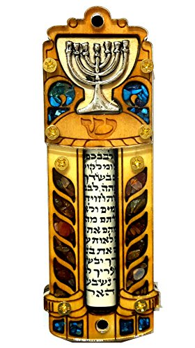 (Jewish MEZUZAH CASE With SCROLL Menorah Wood & Gemstones Israel Judaica Door Mezuza 4