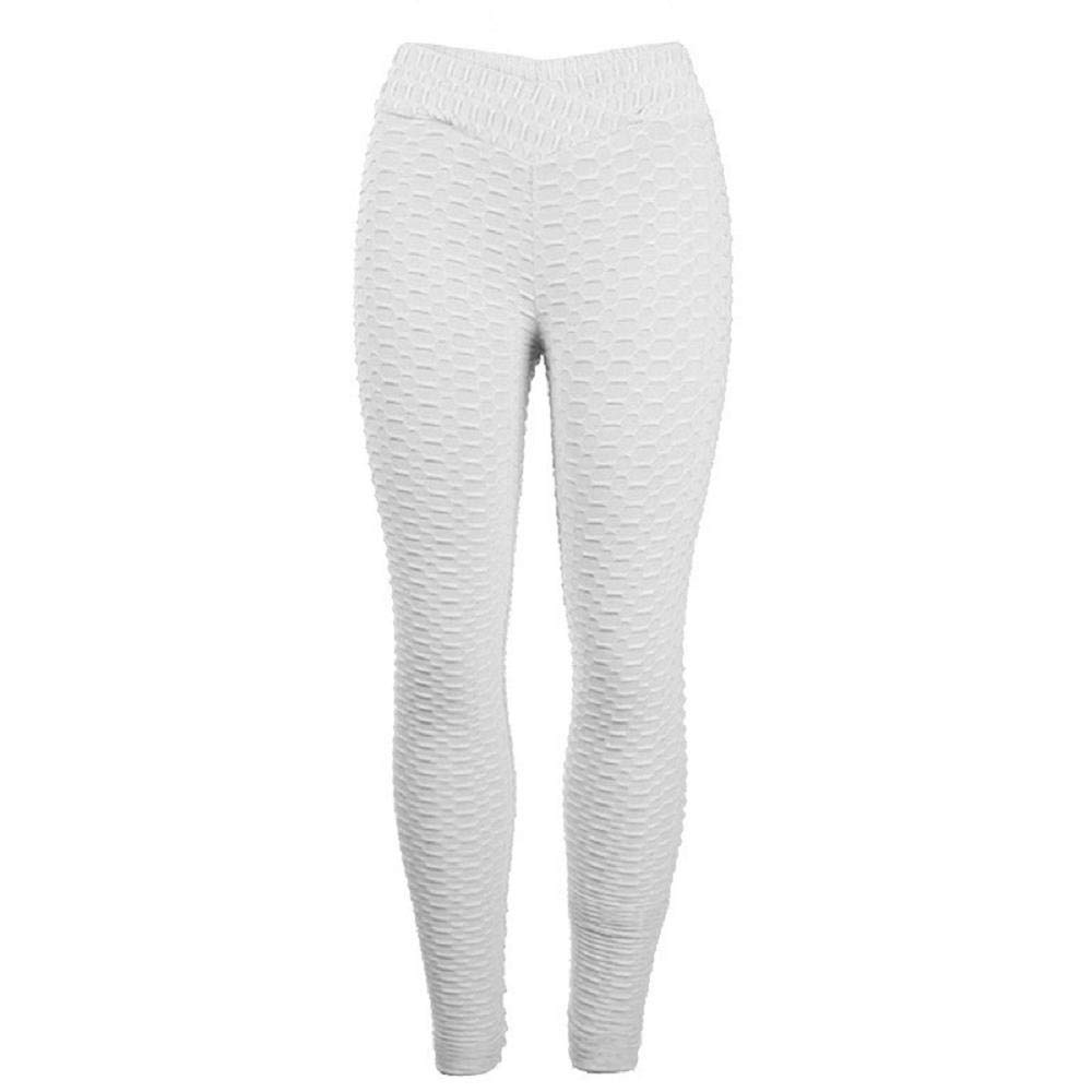 GzxtLTX Women Yoga Hight Waist Fitness Pants Leggings Stretch Trouser (White, M)