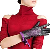 CWJ Women's Winter Warm Leather Gloves Short Classi Half Finger Super Warm Purple,Purple,Large