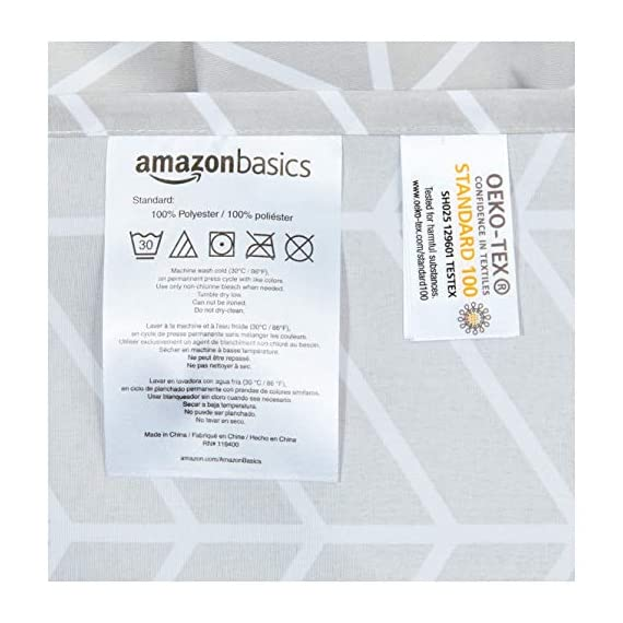 AmazonBasics Grey Herringbone Shower Curtain - 72 Inch - Stylish shower curtain with printed pattern Eye-catching print adds a distinctive look to your bathroom Built-in ring holes make installation easy (rings not included) - shower-curtains, bathroom-linens, bathroom - 51HnEjr lPL. SS570  -