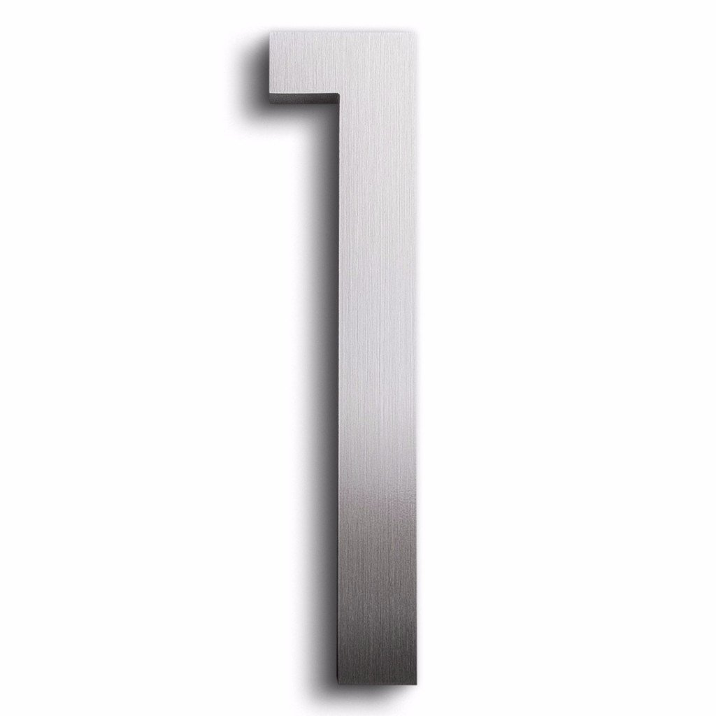Modern House Number Aluminum Modern Font Number One 1 - 8 inch modernwellnumbers.com 1-8alum