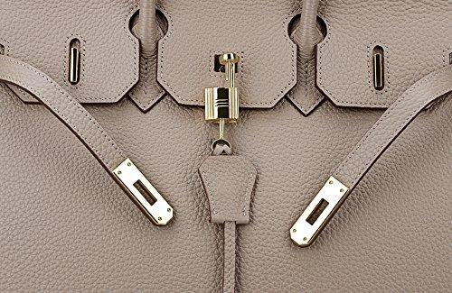 Bag Handle Golden Grey Solid Leather Women's Top Hardware Handbag Taupe with SanMario Designer Padlock qwt0O