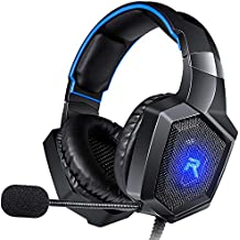 RUNMUS Gaming Headset Gaming Headphones Works On PS4, Xbox One (Adapter Needed), PC Gaming Headset Stereo Surround Sound, LED Lighting & Noise Canceling Microphone