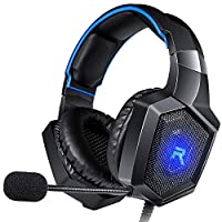 RUNMUS Gaming Headset Gaming Headphones Compatible with PS4, Xbox One (Adapter Needed), Nintendo Switch etc. PC Gaming Headset with Stereo Surround Sound, LED Lighting & Noise Canceling Microphone