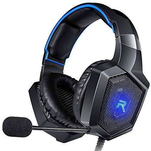 RUNMUS Gaming Headset for PS4, Xbox One, PC Headset w/ Surround Sound, Noise Canceling Over Ear Headphones with Mic & LED Light, Compatible with PS4, Xbox One, Nintendo Switch, PC, PS3, Mac, Laptop
